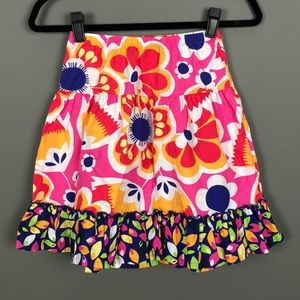 Hanna Andersson l Colorful Floral Ruffle Hem Skirt